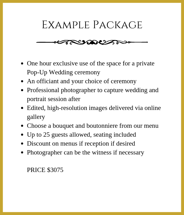 pop up wedding package