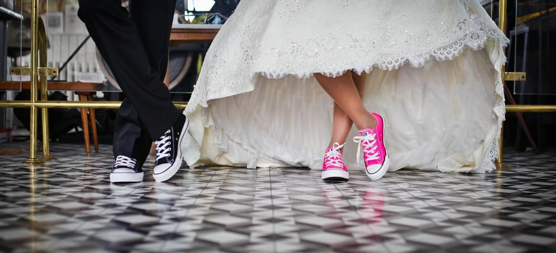 wedding dance in sneakers on tile flower
