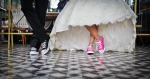 wedding dance in sneakers on tile flower