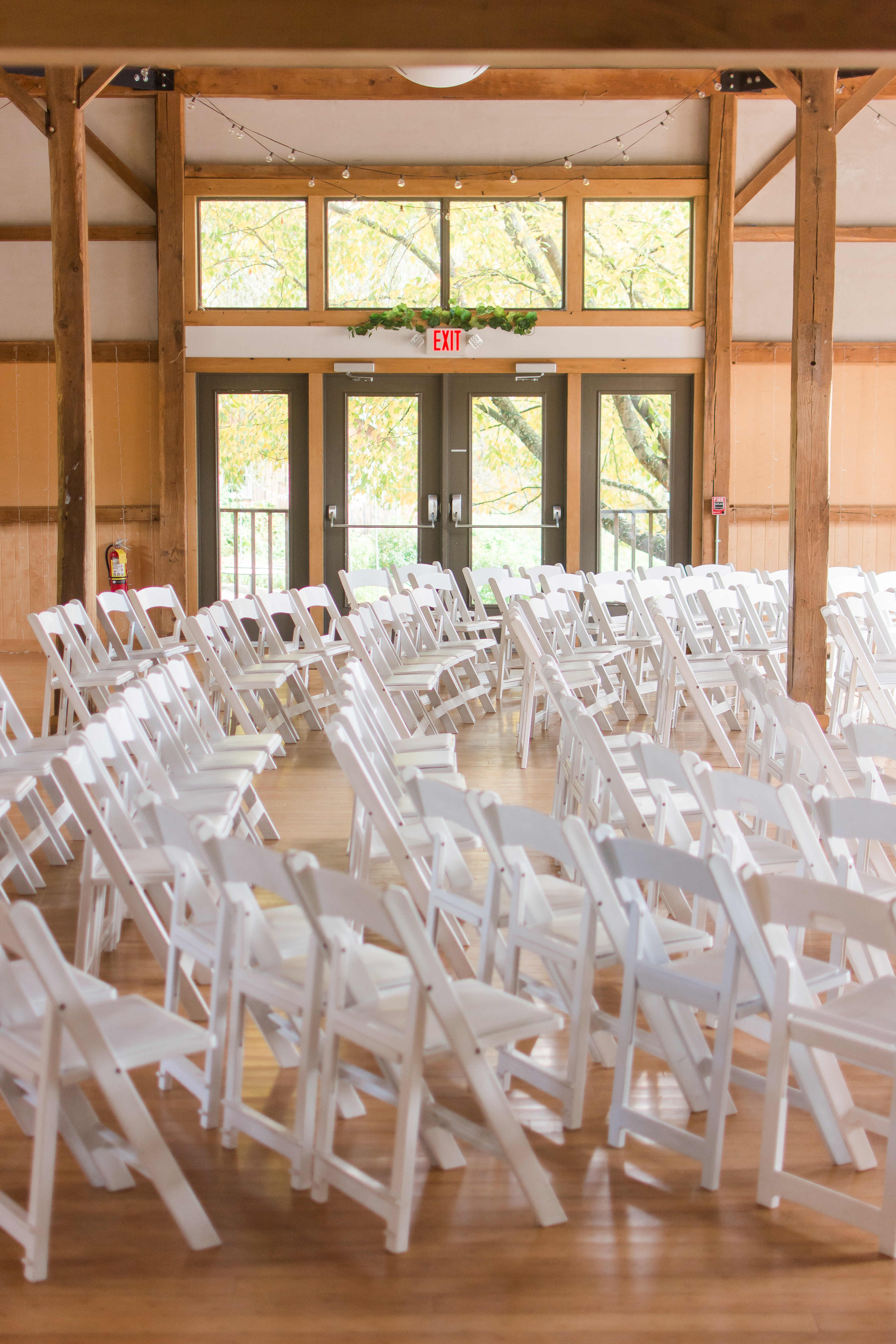 Reception chairs in a barn