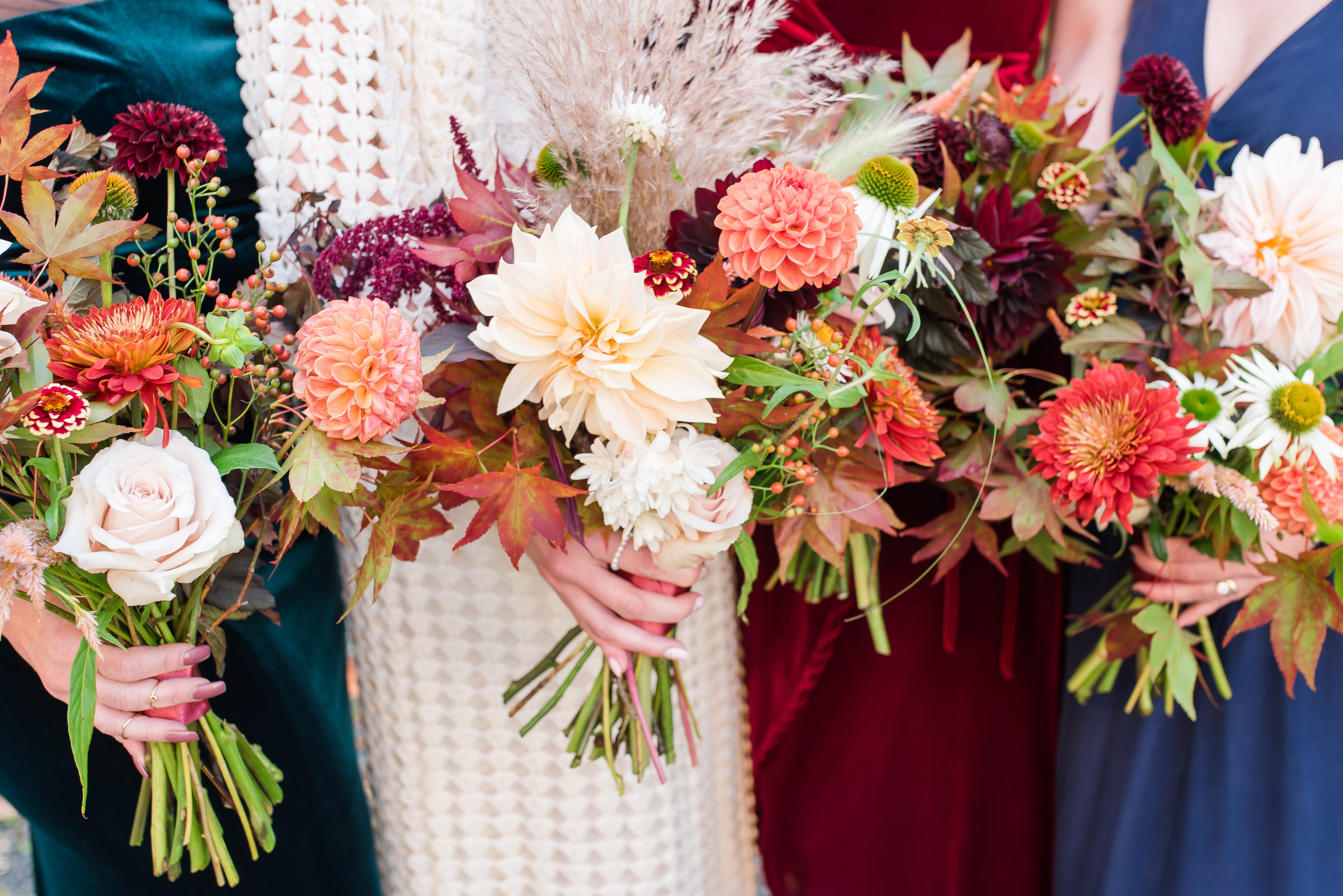 three bouquets with fall flowers